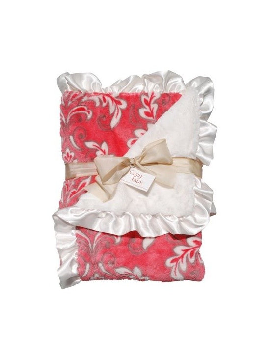 Belle & June - Lux Ruffle Baby Blanket, Bright Pink - The perfect gift for the newest little one in your life, this extremely soft, damask blanket is sure to be their favorite blanket. With luxuriously soft front and back, and satin blanket ruffle trim, this baby blanket is soft and snuggly.