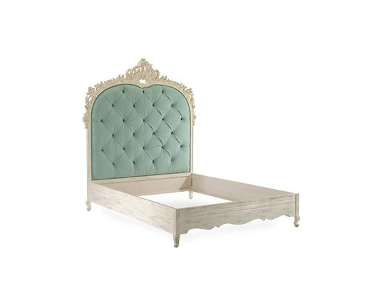Angeline Queen Bed by John Richard - Highly romantic yet modern, this bed is inspired by the lines of an exceptionally fine Louis XV mirror. The headboard features an intricately hand-carved border which surrounds beautiful button tufting.