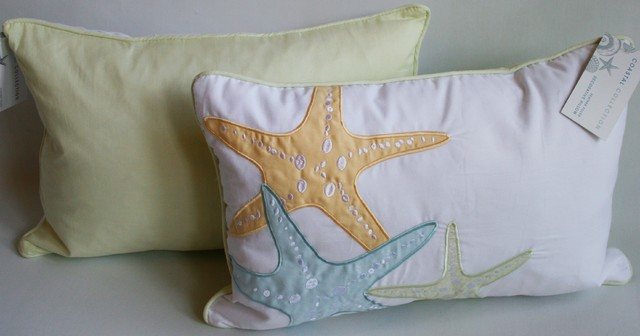 Starfish Coastal Accent Pillow - beach style - pillows - other