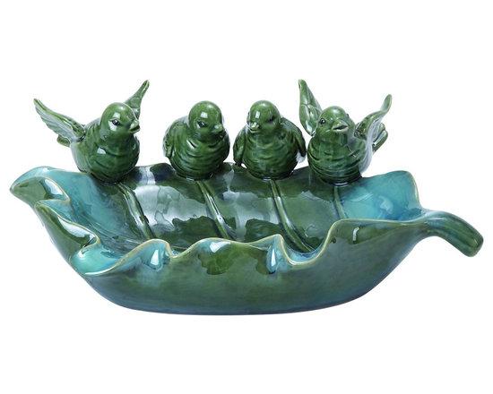 Woodland Imports - Ceramic Bird Bath Giant Leaf Shape 4 Bird Green Patio Decor - Beautiful ceramic bird bath in giant leaf shape with 4 bird figurines in glazed green finish home Patio garden decor
