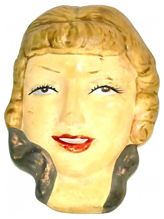 "Ceramic Female Face - Art Deco Ceramic Vampy Female ""painted lady"" wall plaque figurine."