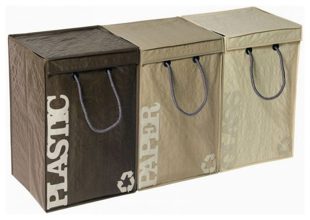 Recyclebags Recycling Bins, 3-piece - Contemporary - Trash Cans
