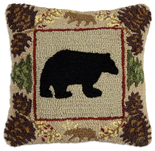Northwoods Bear Hooked Pillow - rustic - holiday decorations - by ...