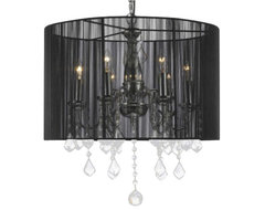 Crystal chandelier with Large Black Shade traditional-chandeliers