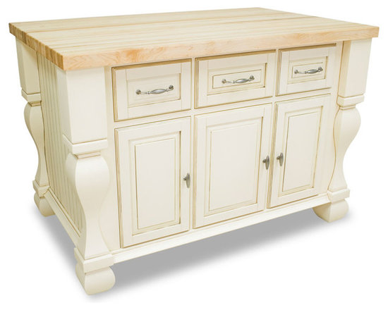 """Inviting Home - Sonoma Kitchen Island (antique white) - Sonoma kitchen island in antique white finish; 53-1/2""""W x 33-3/4""""D x 35-1/2""""H; (1-3/4"""" hard maple butcher block 01 top sold separately); Kitchen island features soft-close under-mount slides on drawers soft-close European hinges and fully adjustable shelves. 1-3/4"""" hard maple butcher block top 01 sold separately."""
