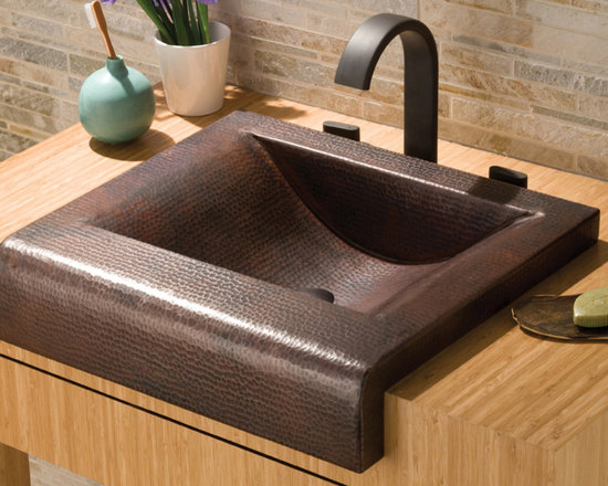 Palisades Antique Copper Bathroom Sink by Native Trails - Turn the corner on tradition with Palisades, a variation on the popular Farmhouse copper sink that's so loved in the kitchen. Its pronounced cascading hand hammered copper apron front provides the perfect showcase for its handsome hammered texture. The essence of soft contemporary design, Palisades is available in Antique or hand-dipped Brushed Nickel finishes.