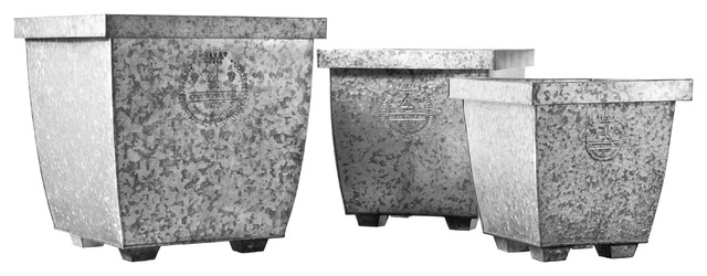 Privet House Galvanized Planters traditional-outdoor-pots-and-planters
