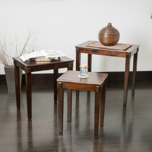 Christopher Knight Home Quentin Acacia Wood Nesting Tables (Set of 3) contemporary-coffee-tables