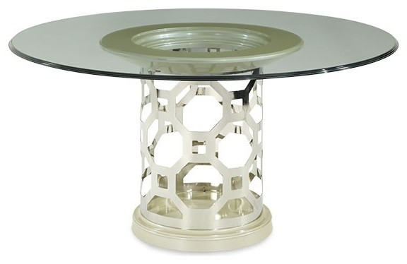 Aico Furniture After Eight 7 Piece 60 Round Glass Top