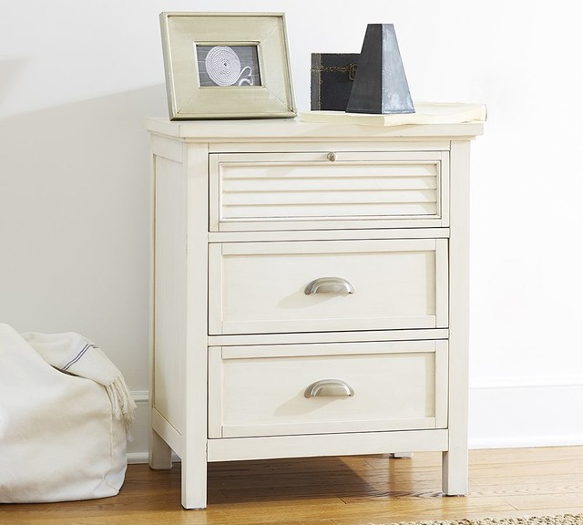 Coastal Shutter Bedside Table Traditional Nightstands
