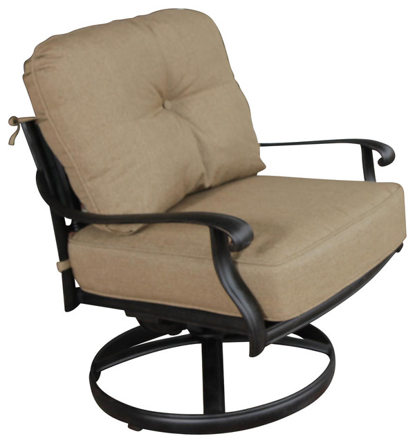 Rosedown Cast Aluminum Swivel Rocker Patio Club Chair Transitional Outdoo