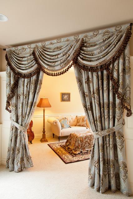 Bleu Fleur De Lis Chenille damask designer curtain set ...