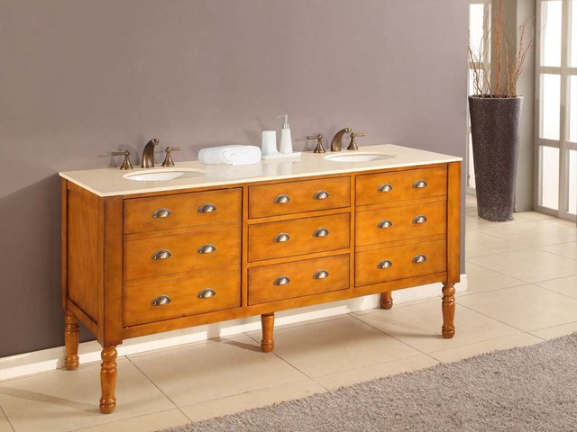 "70"" Coventry Double Sink Vanity - Honey (6070D11-H) transitional-bathroom-vanities-and-sink-consoles"
