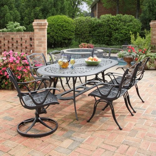 Exceptional Cast Aluminum Patio Dining Home Styles Malibu Black Cast Aluminum Patio  Dining Set   Seats 6