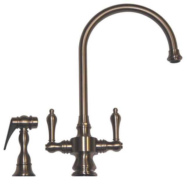 Vintage III Dual Handle Faucet Long Gooseneck Swivel Spout w Brass Side Spra