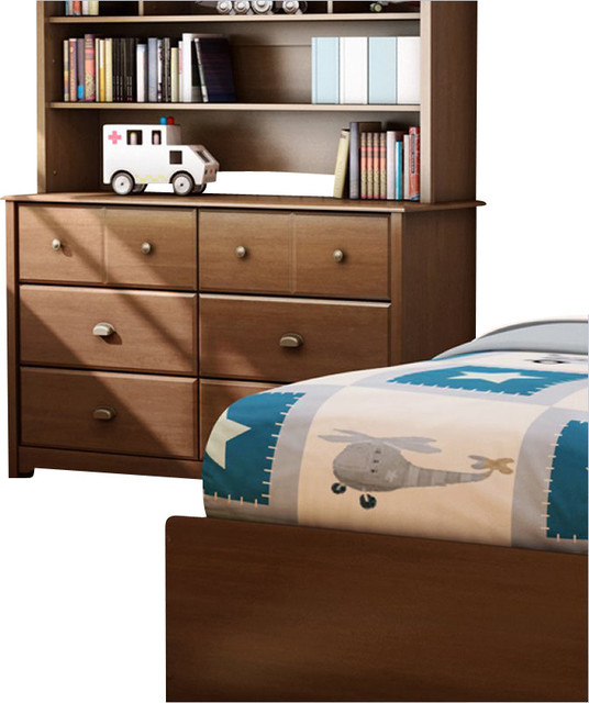 South Shore Nathan Kids Double Dresser in Sumptuous Cherry Finish transitional-dressers