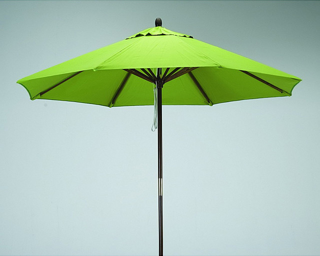 Premium 9 Foot Round Lime Green Wood Patio Umbrella