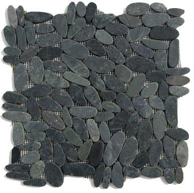 Komodo Black Pebbles & Stones Black Flat Pebbles Series Tumbled Natural Stone tropical-tile