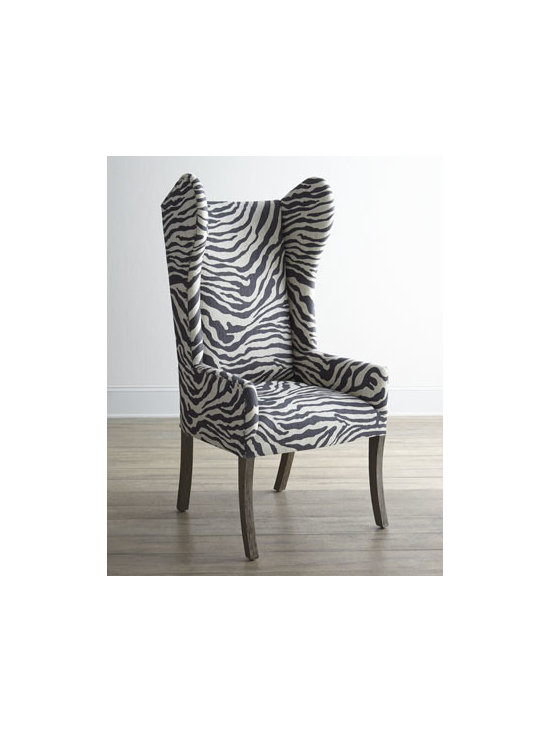 """Horchow - Kayla Zebra-Print Wingback Chair - Animal prints are in, so we gave the classic wingback chair a modern update with exotic zebra-print upholstery. We think the results are absolutely stunning. Peruvian oak frame. Linen upholstery. 24""""W x 22""""D x 48""""T. Made in the USA. Boxed weight, a..."""