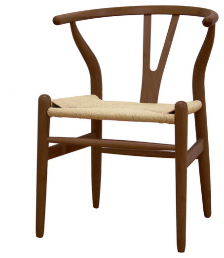 Baxton Studio Wishbone Chair - Dark Brown Wood Y Chair transitional-dining-chairs