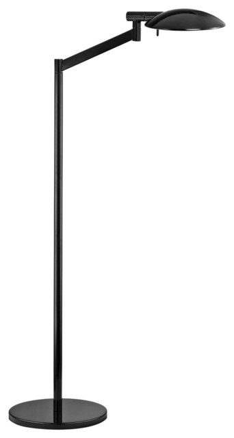Robert Sonneman Perch Gloss Black Chairside Floor Lamp contemporary floor lamps