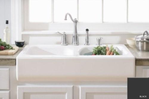 """Kitchen Sink Apron Front Dual Bowl Acrylic 10"""" Deep Black Modern K"""