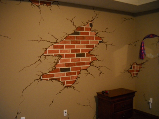 Exposed brick mediterranean other metro by that 39 s for Brick wall mural