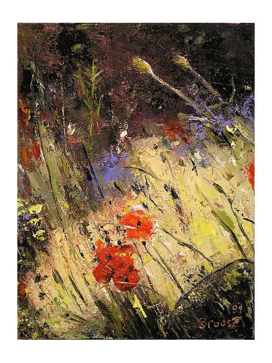 poppies in sunlight - hallway space artwork - small painting - 6 x 8, paintings on canvas, contemporary oil paintings