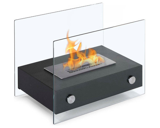 Moda Flame - Elda Table Top Ethanol Fireplace - The Elda is a stylish table top ethanol fireplace composed of two tempered glass walls holding up a miniature steel powder coated base and burner. This model is multifunctional as it can serve as both a standalone and a table top.