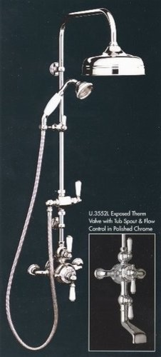 Rohl U.KIT3L Thermostatic Valve with Tub Spout, Handspray and Showerhead traditional-showers