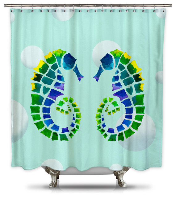 catherine holcombe seahorse love fabric shower curtain standard size beach style shower. Black Bedroom Furniture Sets. Home Design Ideas