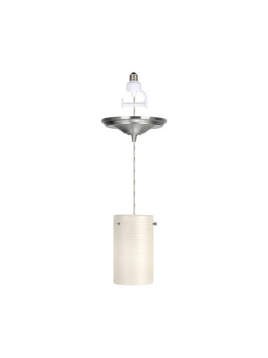 Brushed Nickel Finish with Brushed White Glass Instant Pendant Light Conve - Brushed white cylinder glass shade with brush nickel finish canopy. Instant Pendant Light includes everything you need to change your 4 - 6.5 inch (120V) recessed lights to stylish hanging pendant lights in minutes. Screws in like a light bulb. Simple locking ring attaches shade to lamp cup and 4 feet of clear cord which wraps around spindle and sits in recessed light fixture hidden by cover plate.