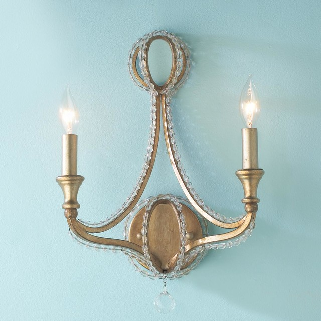 Beaded Crystal Wall Sconces : Beaded Crystal Crown 2 Light Sconce - Wall Lighting - by Shades of Light