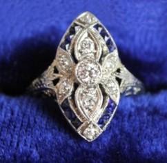 Lot 282:  Lady's Platinum Sapphire and Diamond Art Deco Ring modern