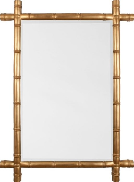 Bamboo Mirror Gold Leaf Asian Wall Mirrors By
