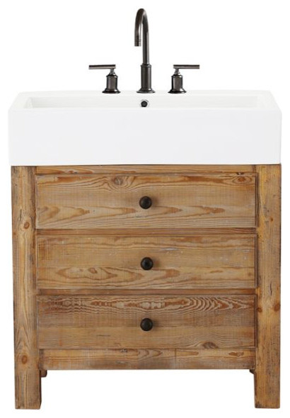 Mason reclaimed wood single sink console wax pine finish for Bathroom cabinets natural wood
