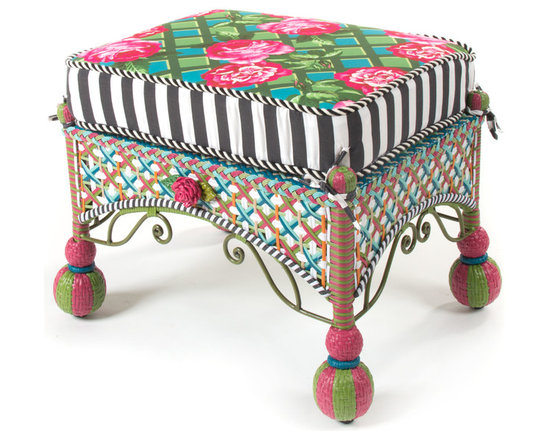 Greenhouse Outdoor Square Ottoman | MacKenzie-Childs - The glorious hues of summer inspire the Greenhouse Collection. Intricately woven of resin wicker in shades of green, pink, white, and orange, and embellished with acrylic roses and leaves. Reversible outdoor cushion displays a rose-on-lattice pattern on one side and a vibrant graphic plaid on the other, and black and white awning-stripe boxing. Solid iron frame. Sturdy, easy care, and made to withstand the elements.