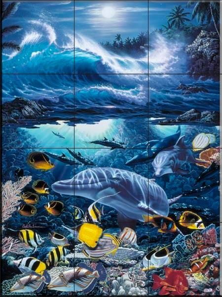 Christian reese lassen dolphin tile murals beach style for Dolphin tile mural