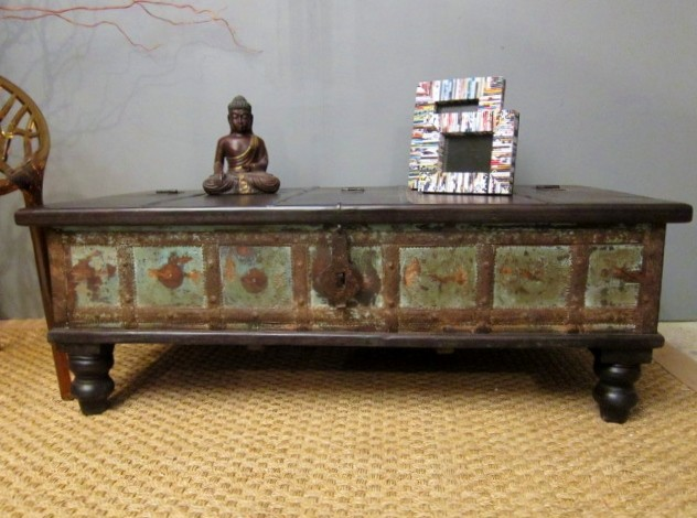 SOLD Boho Chic Green Coffee Table Trunk eclectic coffee tables