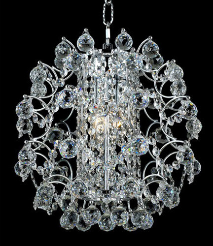 St. Ives Chrome Three-Light 14-Inch Pendant with Royal Cut Clear Crystal contemporary-ceiling-lighting