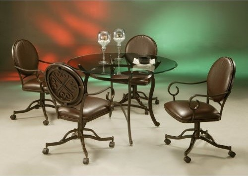 Pastel Island Falls 5 pc. Glass Top Dining Table Set with Caster Chairs traditional dining tables