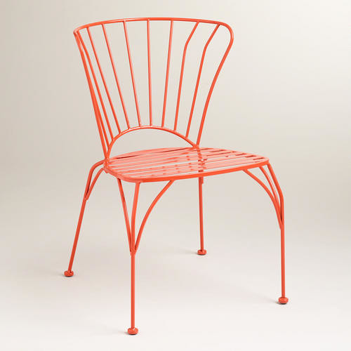 Spicy Orange Cadiz Stacking Chair Modern Outdoor Lounge Chairs By Cost