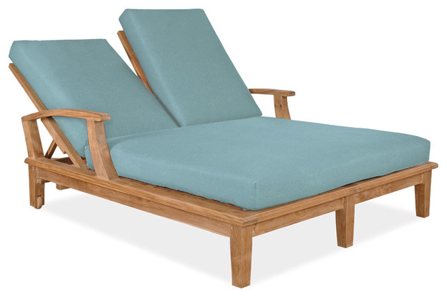 Teak Double Chaise Lounge Navy Cushion Veranda Collection Contemporary P