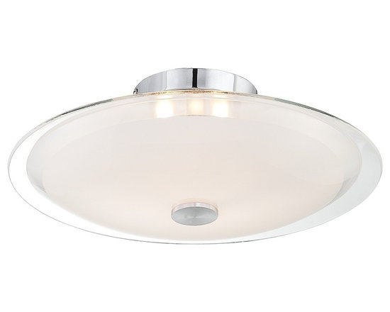 """Possini Euro Design - Possini Glass Disk 15"""" Wide Round Ceiling Light - This contemporary floating flushmount ceiling fixture offers beautiful materials and a spectacular design. A smooth disk of glass combines clear and frosted finishes to diffuse the light while creating an eye-catching look. The hardware features a gleaming chrome finish. Chrome finish. Clear and frosted glass. Includes three 40 watt G9 halogen bulbs. 15"""" wide. 5 1/4"""" high.  Clear and frosted glass.   Chrome finish accents.   Semi-flushmount ceiling light design.  By Possini Euro Design.  Includes three 40 watt G9 halogen bulbs.   15"""" wide.   5 1/4"""" high."""
