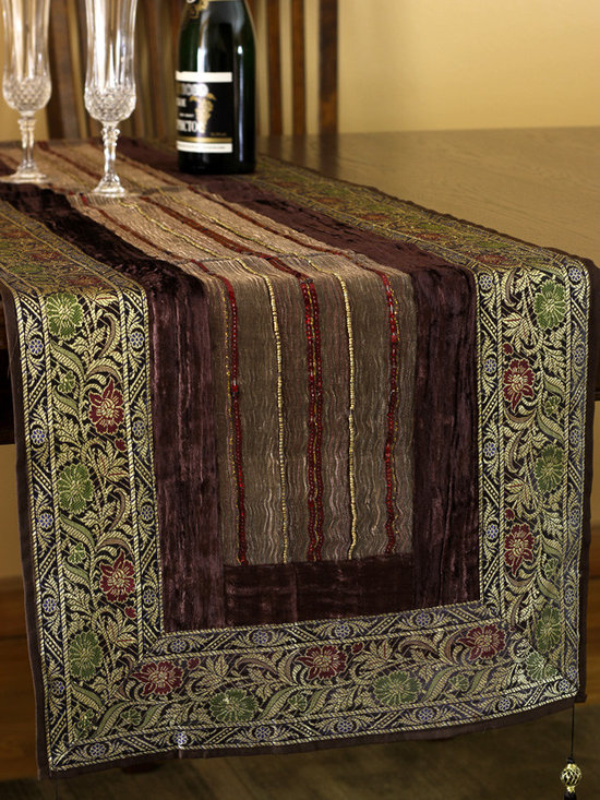 """Elegant Table Runners - Gorgeous Velvet and Silk """"Arabian Table Runner"""" Coffee Brown color. Beautifully hand crafted in India. Gold"""