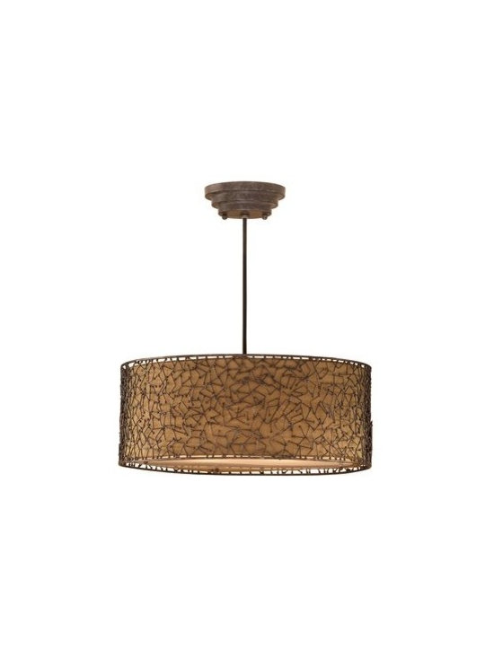 Uttermost - Uttermost 21153 3 Light Hanging Shade Pendant from the Brandon Collection - Uttermost 21153 Carolyn Kinder Brandon 3 Lt Hanging ShadeDistressed dark brown with a light rust undertone and a champagne taupe liner.Features: