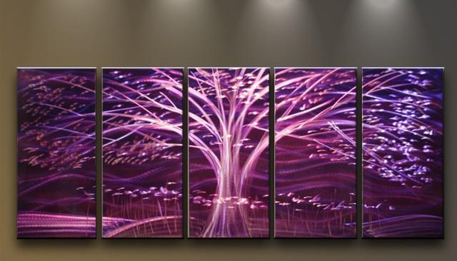 Metal Tree Wall Art Gallery: Metal Wall Art Modern Sculpture 5 Panels Tree Purple Night