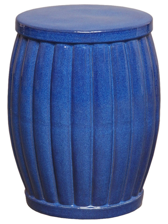 Blue Fluted Garden Stool - Unlike standard garden stools that feature eastern design characteristics, this stool is decidedly traditional in style with its elegant fluted style and rounded edges. Use this in a living room or patio to create extra seating for your guests while enhancing the overall aesthetic in the room.