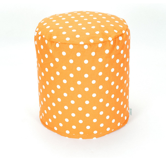 Indoor Tangerine Small Polka Dot Small Pouf contemporary-floor-pillows-and-poufs