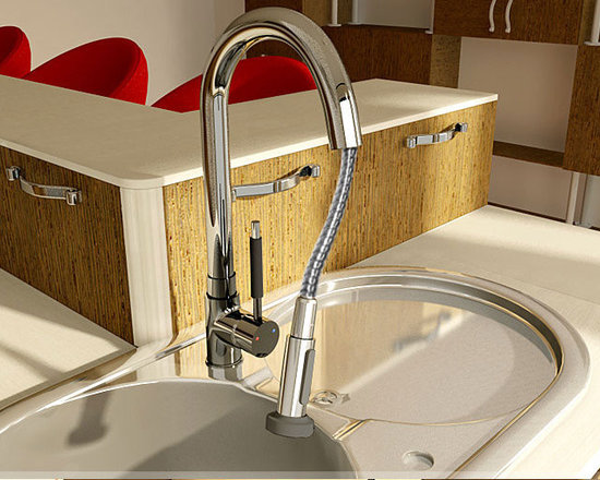 Single Handle Pull Out Kitchen Faucet - Features: